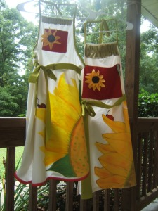 Sunflower aprons 1st